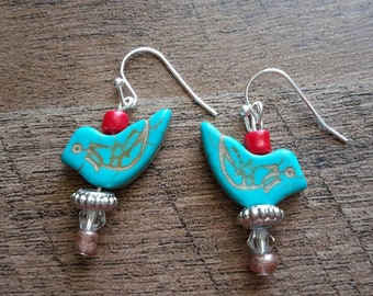 Handmade Dangle Drop Blue Bird Singing with Red Bead Accent