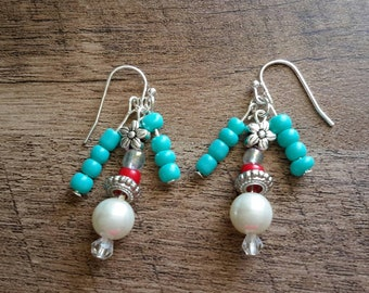 Handmade Dangle Drop Flower with blue and red bead accents Earrings
