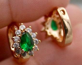 18k gold filled emerald flower water drop earrings