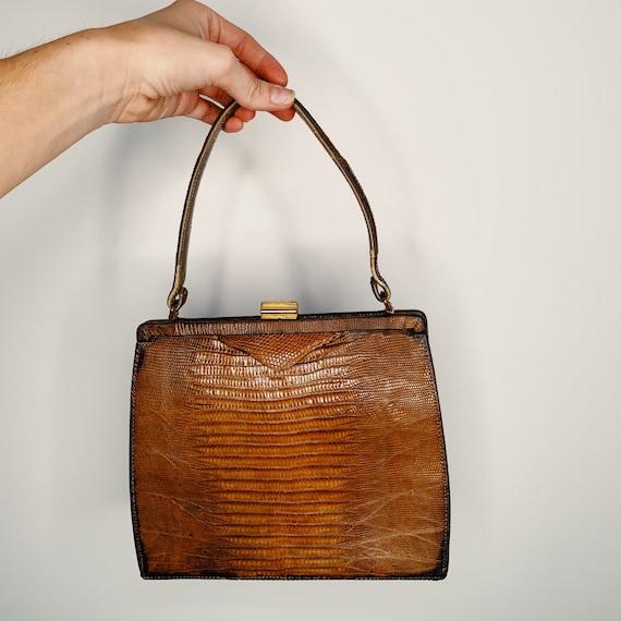 60s Framed Alligator Top Handle Bag