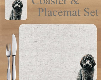 Labradoodle Placemat and Coaster set, featuring artwork by Jane Bannon