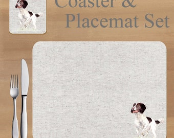 Springer Spaniel Placemat and Coaster set, featuring artwork by Jane Bannon