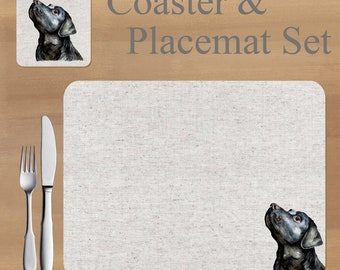 Labrador Placemat and Coaster set, featuring artwork by Jane Bannon