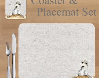 Bedlington Terrier, Placemat and Coaster set, featuring artwork by Jane Bannon