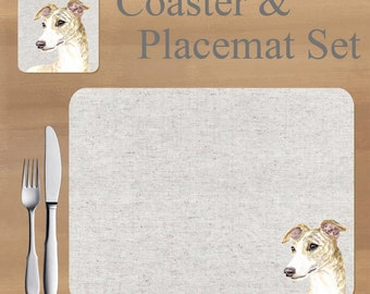 Greyhound, whippet Placemat and Coaster set, featuring artwork by Jane Bannon