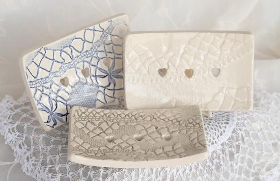 Lace Embossed Ceramic Soap Dish