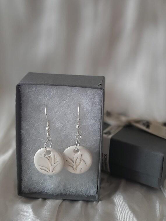 Grey Floral Embossed Circular Drop Earrings