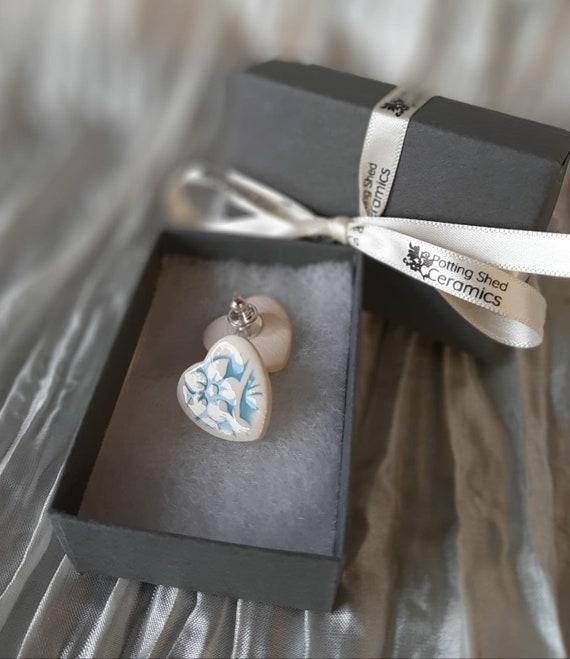 Blue Floral Heart Stud Earrings
