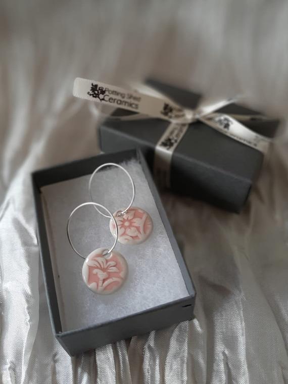 Pink Floral Circular Hoop Earrings