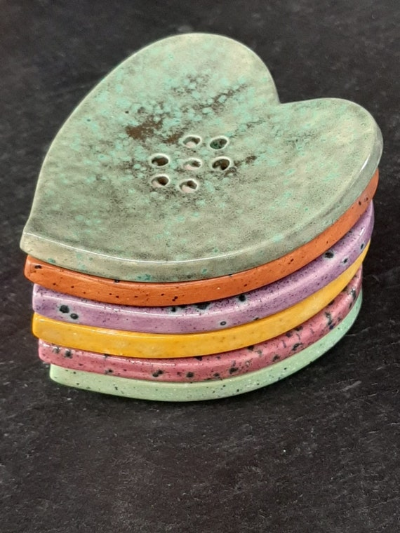 Colourful Heart Soap Dish - Moorland Range