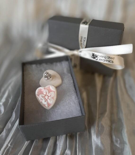 Pink Floral Heart Stud Earrings