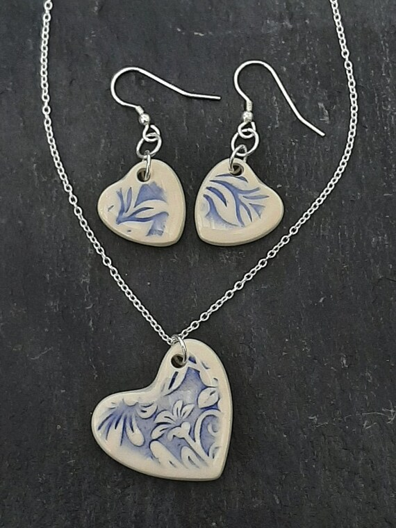 Heart Ceramic Jewellery Set