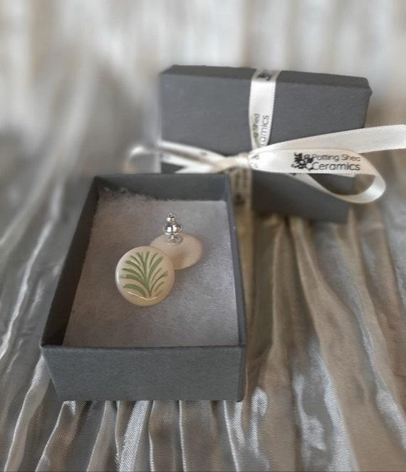 Green Floral Circular Stud Earrings