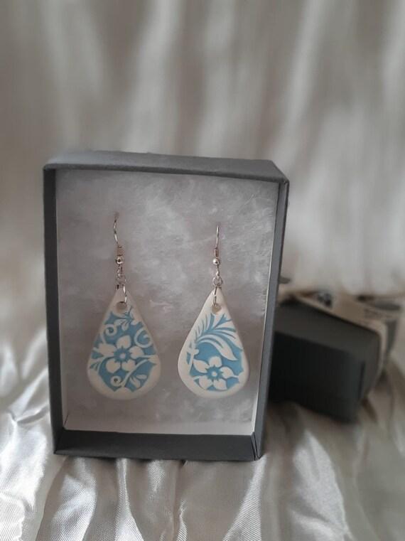 Blue Floral Tear Drop Earrings
