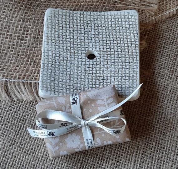 Small Burlap Embossed Soap Set
