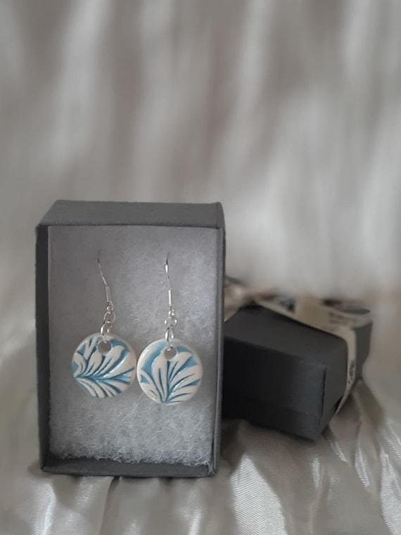 Blue Floral Circular Drop Earrings
