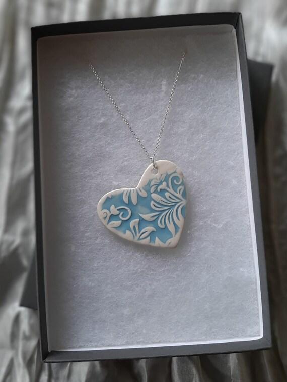"""Blue Floral Heart Pendant Necklace (26"""")"""
