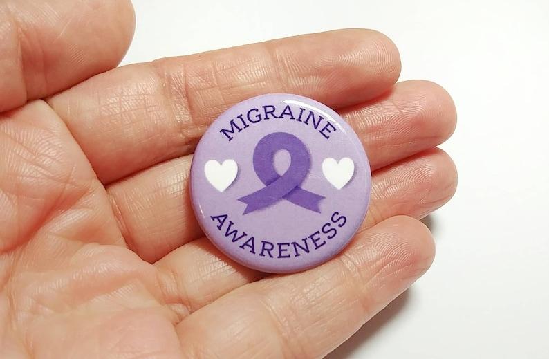 bf871ed8db4 Migraine Awareness Button, Purple Ribbon, Small 1.25