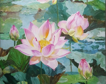 Cambodian Lotuses in Lake Canvas Original Oil Painting