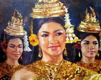Cambodian Apsara Dancers Canvas Original Oil Painting