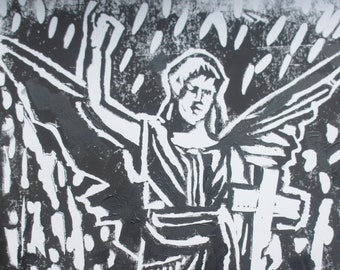 angel victorious woodblock print