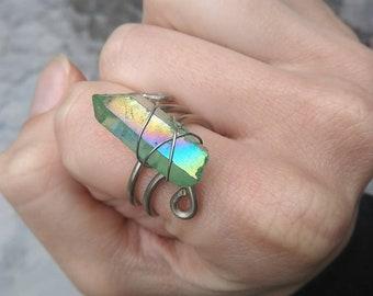 Crystal Ring - Aqua Aura Quartz