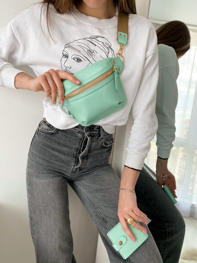 Bag Women,Hip Bag Women,Leather Hip Bag,Mint Leather Fanny Pack,Personalized Cross Body Bag Leather,Womens Gift,Christmas Gift For Her