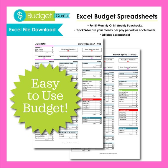 Excel Monthly Budget Template Etsy