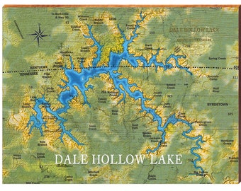 """Dale Hollow Lake Map Engraved Bamboo Cutting Board 9.7x13.7/"""" Kentucky Tennessee"""