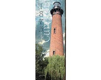 9.5x30 Simons Lighthouse Home Decor Art Print on Real Wood St