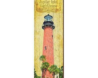 9.5x30 Jupiter Inlet Lighthouse Home Decor Art Print on Real Wood