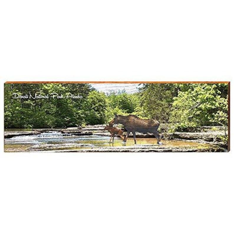 Moose and Calf in Denali Park Alaska Home Decor Art Print on Real Wood 9.5x30