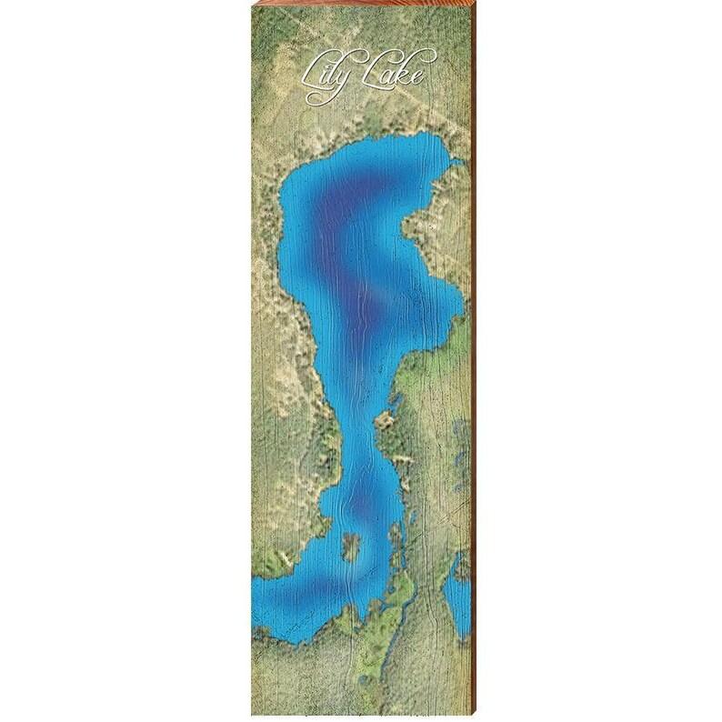 9.5x30 Lily Lake Map Home Decor Art Print on Real Wood