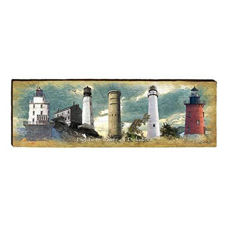 9.5x30 Delaware Lighthouses Home Decor Art Print on Real Wood