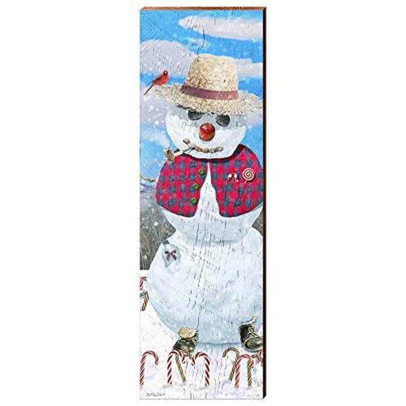 Mountain Snowman Home Decor Art Print on Real Wood 9.5x30