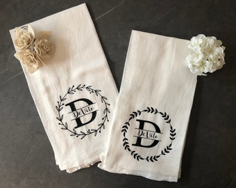 Monogram Dish Towel Etsy