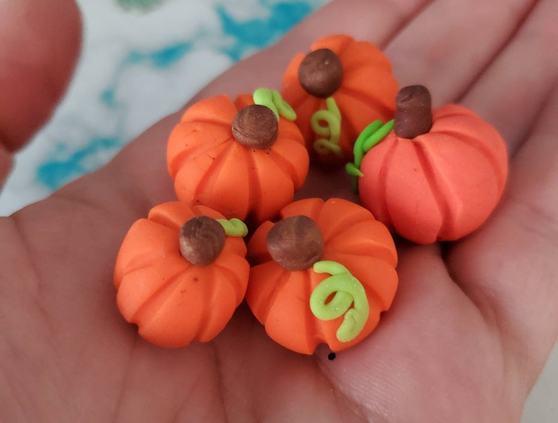 you choose how many in a set orange pumpkins random shaped Miniature polymer clay pumpkins for miniature decorating and crafts