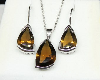 JEWELRY LIQUIDATION SALE - Women's Sterling Silver Smokey Quartz Earrings & Necklace Set