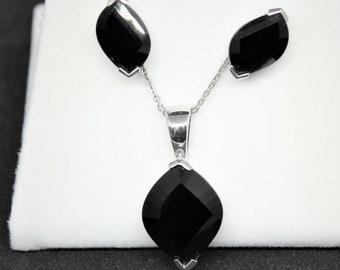 JEWELRY LIQUIDATION SALE - Women's Black Gem Sterling Silver Earrings & Necklace Set