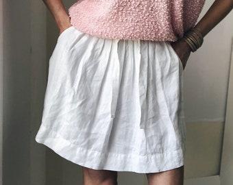 Vintage Linen Easy Skirt Pleated Eggshell White Drawstring waist