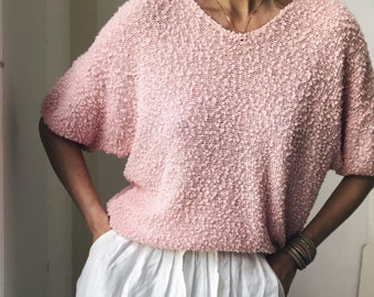 Knit Short Sleeve Pullover Sweater In Candy Pink