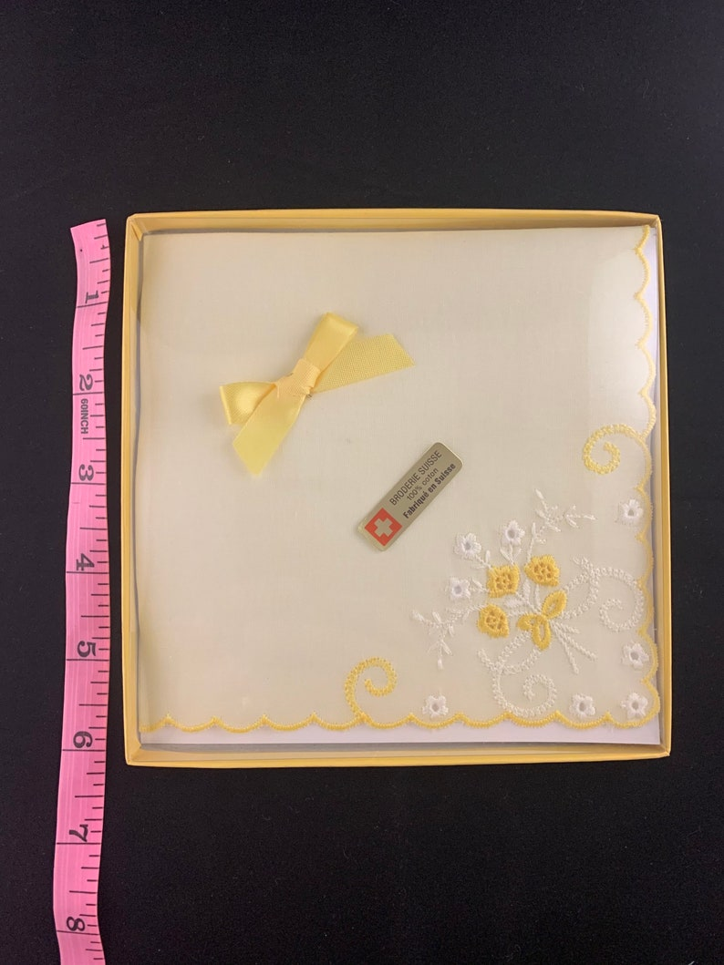 made in Switzerland light yellow in original box! Vintage Hankie with embroidery