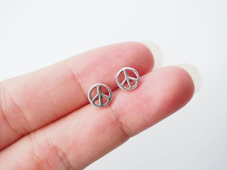 7 mm Peace stud Earrings Hippy Boho Earrings Peace Jewelry Minimalist earrings  BD88