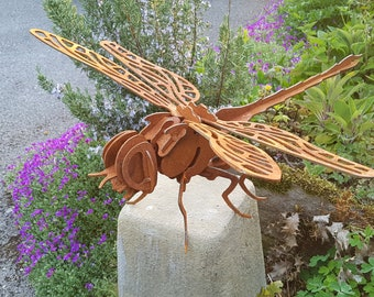 Bon Rusty Metal Dragonfly   Garden Insect   Garden Ornaments   Art   3D  Dragonfly   Dragonfly Gift
