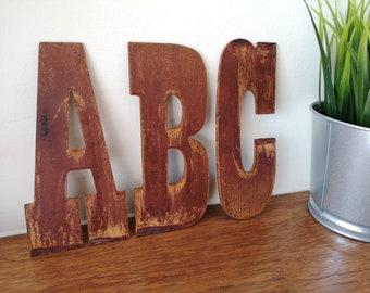 12 inch rusty metal letters alphabet vintage western style rusty house letter steel letters rusty house sign rustic steel letters