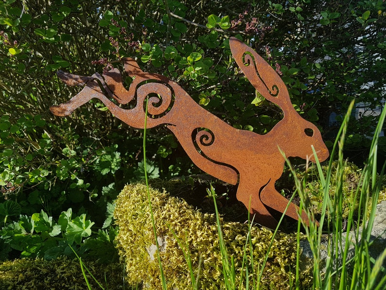 Leaping Rusty Metal Hare Pagan Garden Ornaments Art | Etsy