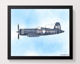 F4U Corsair vs Mitsubishi A6M Zero 11x14 Watercolor Painting
