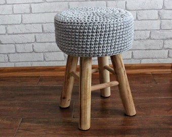 Chrochet Stool, Pouf colours Gray, Seat, Ottoman, Footstool