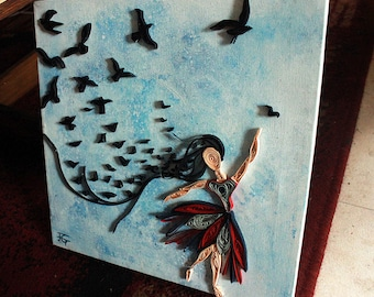 The Lady Bird, quilling and paint