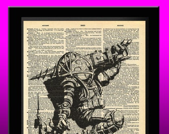 BioShock Infinite Inspired Big Daddy Little Sister Dictionary Print 8x11